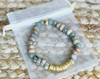 Crazy Lace Agate Bracelet with Gold Wavy Disc and Crystal Beads