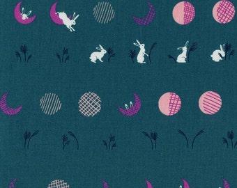 Cotton and Steel Fabric, Mochi by Rashida Coleman-Hale, Moon Bunnies in Teal Yardage