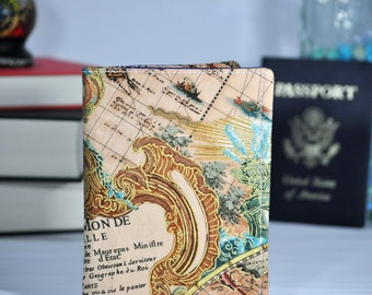 Passport Wallet - World Map Travel Organizer - Midori Passport Notebook Cover - Family Travel Wallet - Gift for Traveler