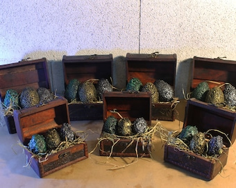 Dragon eggs in chest. Game of Thrones. Dragon babies.