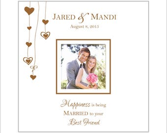 """Personalized Wedding Album, Anniversary Photo Book, Holds 200 4 x 6 Photos, """"Happiness is being married to your best friend"""""""