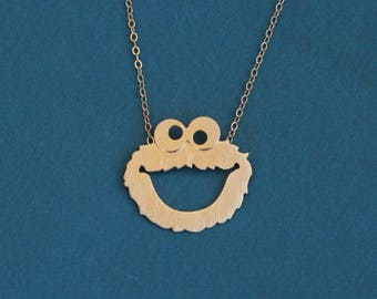 Cookie Monster Necklace, Sesame Street Jewelry, Cookie Monster Jewelry, Cute Gift for Her, Cartoon Necklace, Gold Necklace, Cookie Necklace