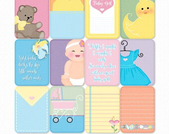 Growing Pains Baby Girl Printable PS Cards & Word Art