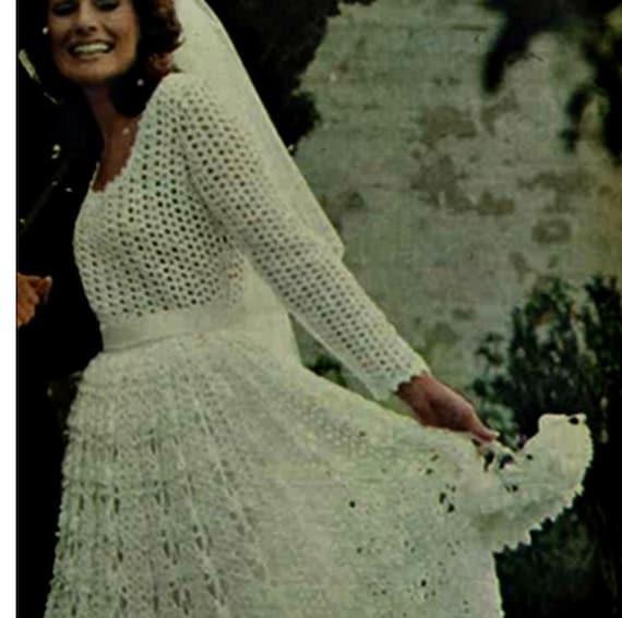 Crochet wedding dress pattern vintage 70s crochet bridal dress junglespirit Image collections