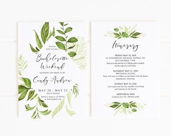 Bachelorette Weekend Invitation Template Greenery, Bachelorette Invitation  Printable, Shower Invitation Editable, Instant Download