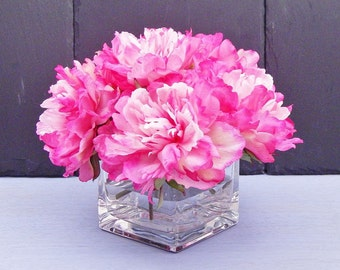 Pink, hot pink, silk, peony/peonies, glass vase, faux water, acrylic/illusion, Real Touch flowers, floral arrangement, centerpiece, gift