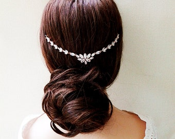 Rose gold headband bridal hair jewelry headpiece statement