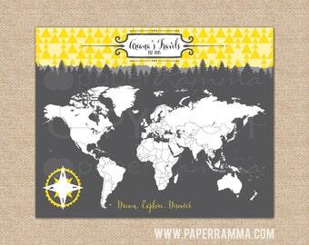 Kid's World Map, Woodland Nursery Decor, Interactive Travel Map, Forest Nursery, Newborn Gift // Choose Art Print or Canvas // N-I06-1PS AA4