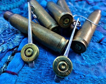 Ammo: Sterling SIlver and Bullets. Fair Trade Earrings from Cambodia
