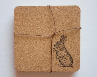 bunny, rabbit coasters, cork, cork coasters, bunny coasters, cute coasters, animal coasters, cork coaster, rabbit cork coasters