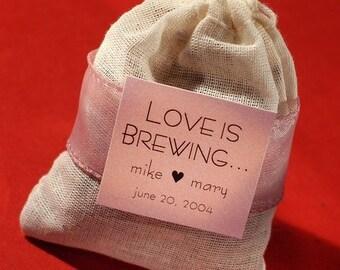 Assembled Love is Brewing Tea Bag wedding shower party favor