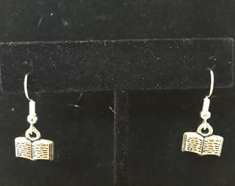 Little Silver Book Charm Dangle Earrings
