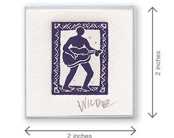Miniature etching magnet - The Guitar Player