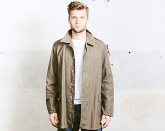 Vintage WORK Jacket . Mens Workwear Chore Coat 60s Parka Brown Khaki Steampunk Jacket  Industrial Heritage Utility Style  . Medium Large