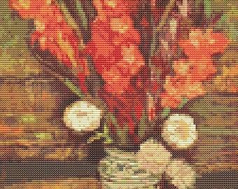 Vincent van Gogh Cross Stitch Kit, Vase with Red Gladioli, Embroidery Kit, Art Cross Stitch, Floral Cross Stitch