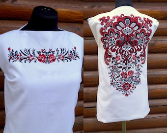 Thread embroidery, cross stitch embroidery, embroidered blouse, handmade, blouse with ornament, ukrainian embroidery