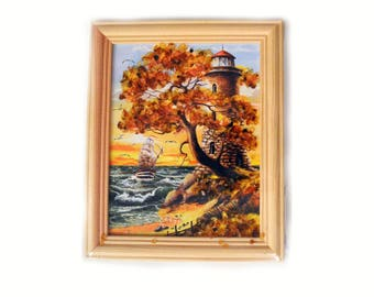 Picture with natural amber  small  decoration  handmade  christmas gift