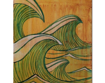 Surf Art Painting, Beach Style Home Decor, Ocean and Waves on Wood., Surf Decor