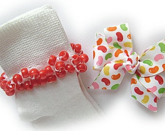 Kathy's Beaded Socks - Jelly Bean Socks and Hairbow, girls socks, red socks, pony bead socks, school socks, jelly bean socks, green socks