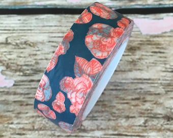 Navy Blue with Burnt Orange Floral Washi Tape 15mm