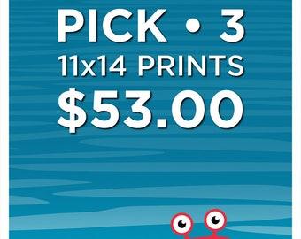 PICK ANY (3) 11x14 PRINTS