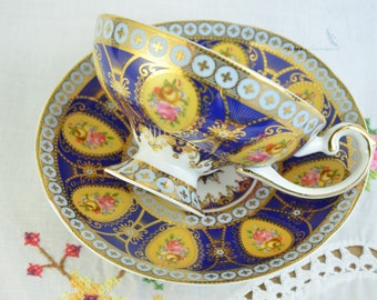 Sovereign fine china cup and saucer, hand painted roses, hand painted tea cup