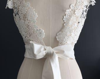 Guipure lace bridal shrug with silk Ivory sash