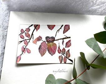Original botanical illustration painting autumn leaves artwork wall art abstract art 15 x 20 cm watercolor floral Aquarelle contemporary art