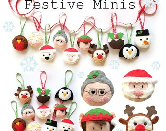 Festive minis Christmas Ornament decorations - PDF Pattern, instant doenload, garland, bunting, tree decorations, holiday, gifts, home decor