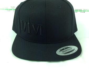 "Black on Black ""416"" Collection Hats! Original, Custom, Snap backs, CN Tower, The Six, 6ix, Area Code, 416 Hats, Roman Numerals, YYZ GTA Hat"