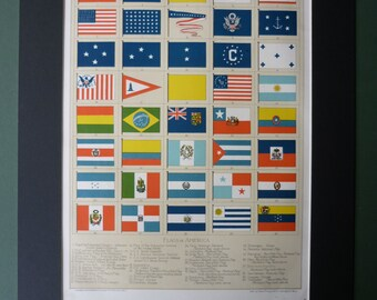 Antique American flag print,  patriotic decor, early American decor, antique Americana, vintage Stars and Stripes, Canada flag, Mexican flag