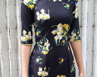 Black tunic dress, tunic dress, plus size tunic, holiday dress, ao dai, kimono, hanbok, cheongsam, qipao