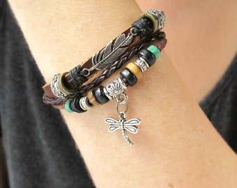 Boho Beaded Bracelet-Leather Bracelet-Layered Beaded Bracelet-Boho Bracelet-Dragonfly Braclelet-Leather Cuff-Leather Jewelry-Gift for Her