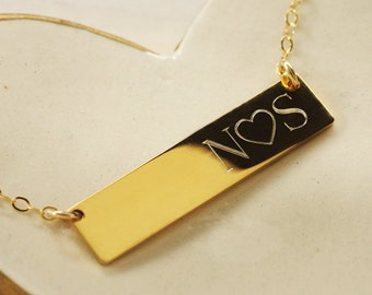 Personalized Gold Filled Bar Necklace - Engraved Initials Necklace - Personalized Gold Fill Necklace Bar