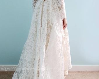 Long sleeve White Lace Dress, Tea length Front Long Back wedding  Dress, Ivory White Lace Bude wedding party lace dress-L'Amei 2018