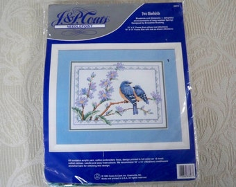 """Craft Supplies Counted Cross Stitch Kit """"Two Bluebirds"""" Made in USA"""