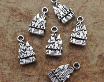 10 Castle Charms Castle Pendants Antiqued Silver Tone Double Sided  11 x 18 mm