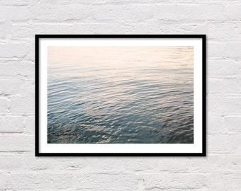Lake Print, Lake Photography, Nautical Print, Minimalist Decor, Blue Grey Wall Art, Water Ripples, Landscape Photography, Digital Download