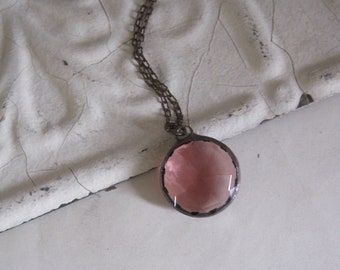 Pink Glass Orb Necklace Stained Glass Jewelry