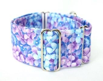 Martingale collar, Greyhound Collar, Galgo Collar, Saluki Collar, Sighthound Collar, Floral Collar, Blue Lilac Martingale, Cotton Dog Collar