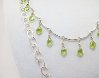 Peridot Rounds Nestled in Chain