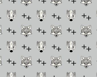 AVALANA Tissu jersey coton AVALANA Têtes de renard noir et gris x40cm