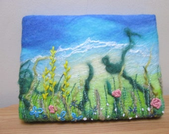 textile wall art, felt and hand embroidery, flower meadow picture