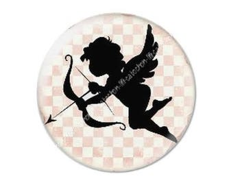 resin cabochon mounted on a stick 25 mm Valentine Cupid 7