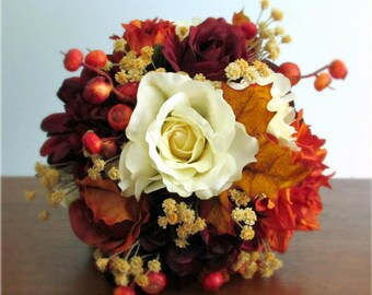 "Burnt Orange, Burgundy, and Ivory, Fall Silk Wedding Bouquet, Roses, Dahilas, Hydrangea, Berries, Autumn Leaves, ""Sundance"""