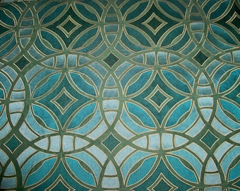 DESIGNER PERSPECTIVE Geometric Embroidered SILK Damask Fabric 10 Yards Aqua Teal Turquoise