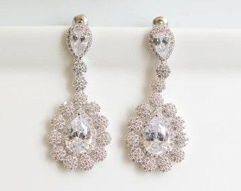 Long Bridal Earrings | Bridesmaid Earrings | Wedding Jewelry | Rose Gold Earrings | Wedding Earrings | Dangle Earrings