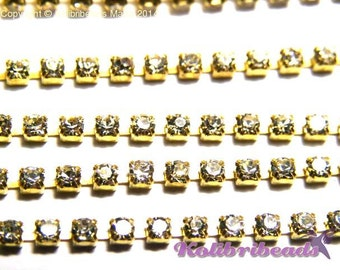 1 m Brass Strass Chain Rhinestone Cup chain 2mm - Gold/Crystal