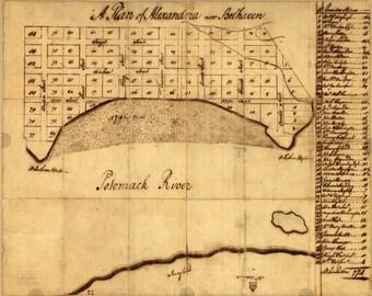 Alexandria, Virginia - 1749 - City Plan - George Washington - Old Map Reprint