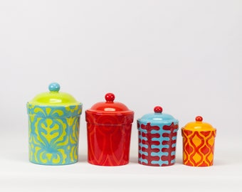 Kitchen Canister Set Canister Set Kitchen Canisters Ceramic Canister Pottery Canister Colorful Kitchen Gift for Bride Wedding Gift AM